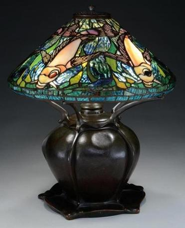 Rare Tiffany Koi table lamp decorated with koi (the Japanese word for the freshwater carp) is expected to bring $50,000-$100,000 at James D. Julia's Lamps, Glass, and Fine Jewelry Auction.